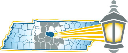 Map showing the location of Franklin in Tennessee